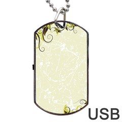 Flower Star Floral Green Camuflage Leaf Frame Dog Tag Usb Flash (two Sides)
