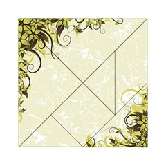 Flower Star Floral Green Camuflage Leaf Frame Acrylic Tangram Puzzle (6  X 6 )