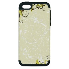 Flower Star Floral Green Camuflage Leaf Frame Apple Iphone 5 Hardshell Case (pc+silicone)