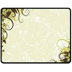 Flower Star Floral Green Camuflage Leaf Frame Double Sided Fleece Blanket (medium)