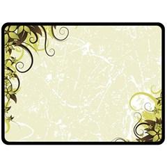 Flower Star Floral Green Camuflage Leaf Frame Double Sided Fleece Blanket (large)