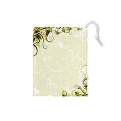 Flower Star Floral Green Camuflage Leaf Frame Drawstring Pouches (small)