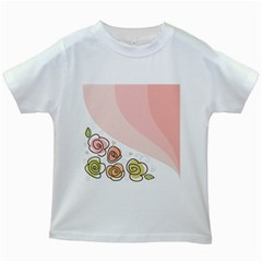 Flower Sunflower Wave Waves Pink Kids White T Shirts
