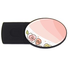 Flower Sunflower Wave Waves Pink Usb Flash Drive Oval (4 Gb)