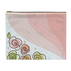 Flower Sunflower Wave Waves Pink Cosmetic Bag (xl)