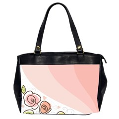 Flower Sunflower Wave Waves Pink Office Handbags (2 Sides)