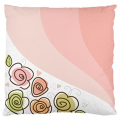 Flower Sunflower Wave Waves Pink Large Flano Cushion Case (one Side)