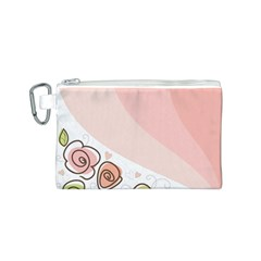 Flower Sunflower Wave Waves Pink Canvas Cosmetic Bag (s)