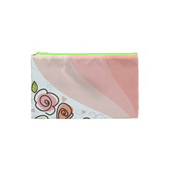 Flower Sunflower Wave Waves Pink Cosmetic Bag (xs)
