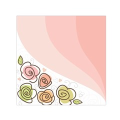 Flower Sunflower Wave Waves Pink Small Satin Scarf (square)