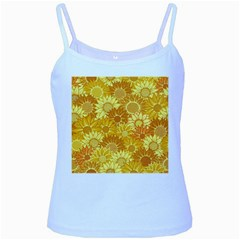 Flower Sunflower Floral Beauty Sexy Baby Blue Spaghetti Tank