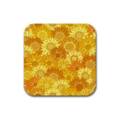 Flower Sunflower Floral Beauty Sexy Rubber Coaster (square)