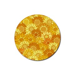 Flower Sunflower Floral Beauty Sexy Rubber Round Coaster (4 Pack)