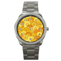 Flower Sunflower Floral Beauty Sexy Sport Metal Watch