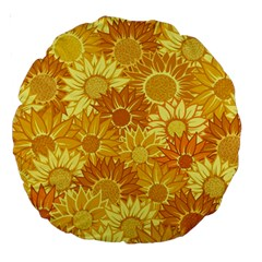 Flower Sunflower Floral Beauty Sexy Large 18  Premium Round Cushions