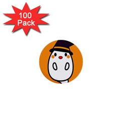Halloween Ghost Orange 1  Mini Buttons (100 Pack)