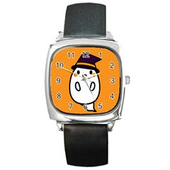 Halloween Ghost Orange Square Metal Watch