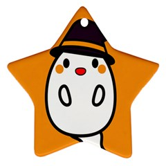 Halloween Ghost Orange Star Ornament (two Sides)