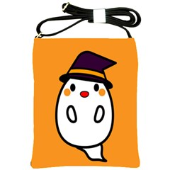Halloween Ghost Orange Shoulder Sling Bags