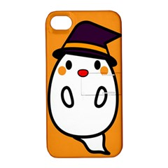 Halloween Ghost Orange Apple Iphone 4/4s Hardshell Case With Stand