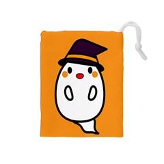 Halloween Ghost Orange Drawstring Pouches (medium)