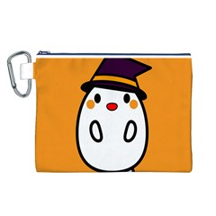 Halloween Ghost Orange Canvas Cosmetic Bag (l)