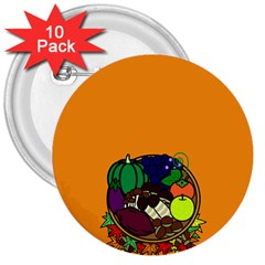 Healthy Vegetables Food 3  Buttons (10 Pack)