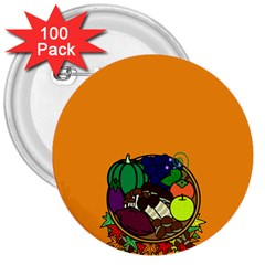 Healthy Vegetables Food 3  Buttons (100 Pack)