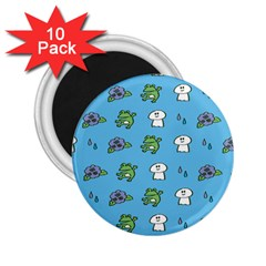 Frog Ghost Rain Flower Green Animals 2 25  Magnets (10 Pack)
