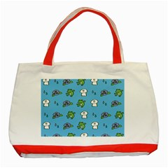 Frog Ghost Rain Flower Green Animals Classic Tote Bag (red)