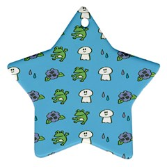 Frog Ghost Rain Flower Green Animals Star Ornament (two Sides)