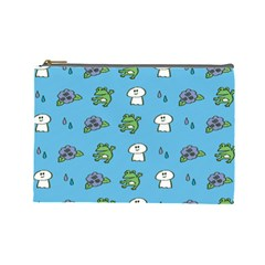 Frog Ghost Rain Flower Green Animals Cosmetic Bag (large)