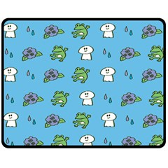 Frog Ghost Rain Flower Green Animals Fleece Blanket (medium)