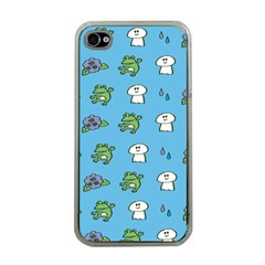 Frog Ghost Rain Flower Green Animals Apple Iphone 4 Case (clear)