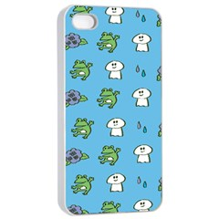 Frog Ghost Rain Flower Green Animals Apple Iphone 4/4s Seamless Case (white)