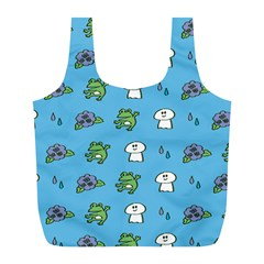 Frog Ghost Rain Flower Green Animals Full Print Recycle Bags (l)
