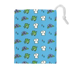 Frog Ghost Rain Flower Green Animals Drawstring Pouches (extra Large)