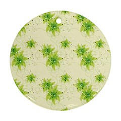 Leaf Green Star Beauty Ornament (round)