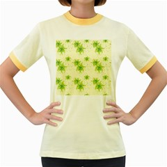 Leaf Green Star Beauty Women s Fitted Ringer T Shirts