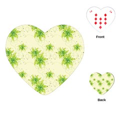 Leaf Green Star Beauty Playing Cards (heart)