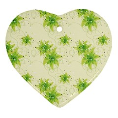 Leaf Green Star Beauty Heart Ornament (two Sides)
