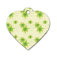 Leaf Green Star Beauty Dog Tag Heart (two Sides)