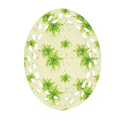 Leaf Green Star Beauty Ornament (oval Filigree)