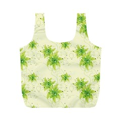 Leaf Green Star Beauty Full Print Recycle Bags (m)