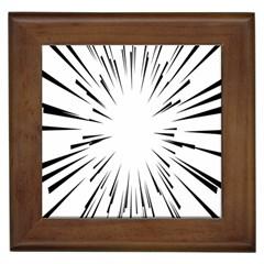 Line Black Sun Arrow Framed Tiles