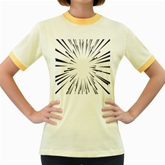 Line Black Sun Arrow Women s Fitted Ringer T Shirts