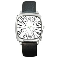 Line Black Sun Arrow Square Metal Watch