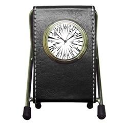 Line Black Sun Arrow Pen Holder Desk Clocks