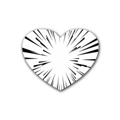 Line Black Sun Arrow Rubber Coaster (heart)