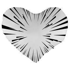 Line Black Sun Arrow Large 19  Premium Flano Heart Shape Cushions